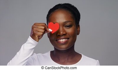 américain africain, cœurs, yeux, femme, heureux