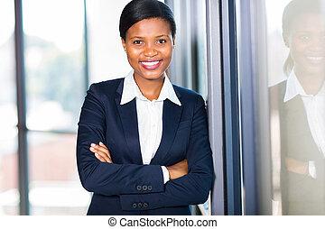 américain africain, femme affaires, closeup