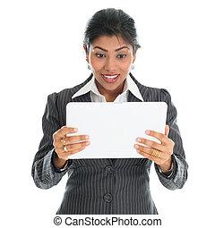 américain africain, femme affaires, utilisation, pc tablette