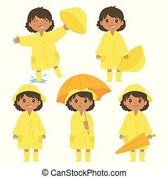 américain africain, imperméable, vecteur, ensemble, jaune, girl