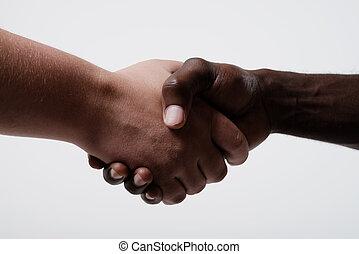 américain africain, mains, homme affaires, secousse,...