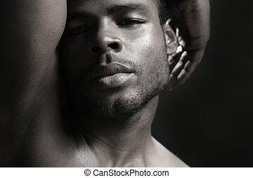 américain africain, mignon, jeune homme noir, portrait