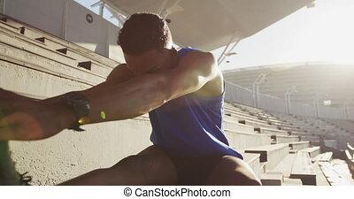 américain, africaine, athlète, stade, étirage