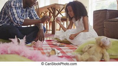 américain, africaine, avoir, fille, maison, pique-nique, ...