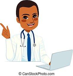 américain, africaine, docteur