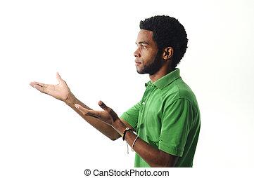 américain, africaine, faire gestes, homme