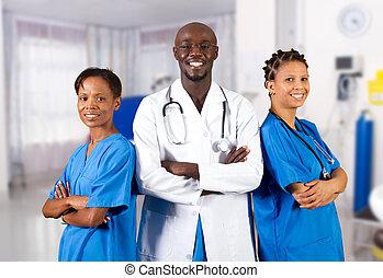 américain, africaine, groupe, médecins