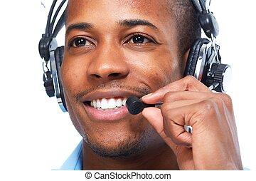 américain, africaine, headsets., homme