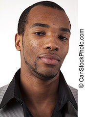 américain, africaine, headshot, homme