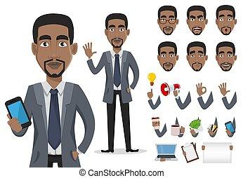 américain, africaine, homme affaires