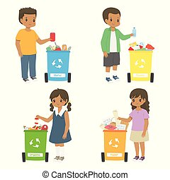 américain, africaine, recyclage, tri, ensemble, vecteur, déchets ménagers, gosses