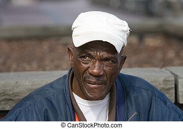 américain, africaine, retiré, homme