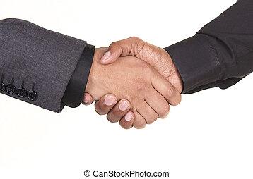 américain, africaine, secousse, hommes affaires, mains