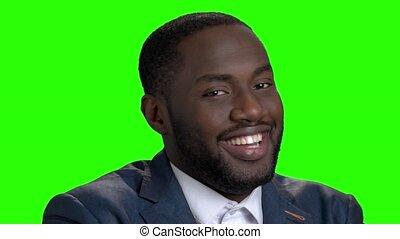 américain afro, flirter, businessman., heureux