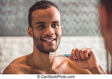 américain, afro, salle bains, homme
