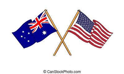 américain, alliance, amitié, australien