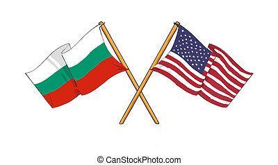 américain, alliance, amitié, bulgare