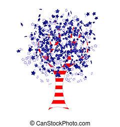 américain, arbre, drapeau