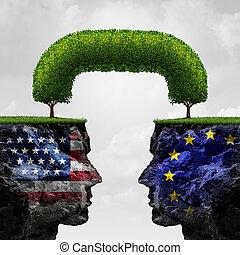 américain, association, européen