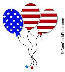 américain, ballons, drapeau