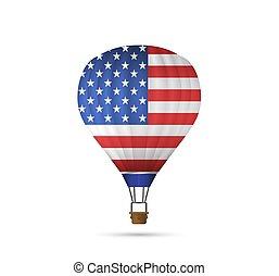 américain, balloon, air, drapeau, chaud