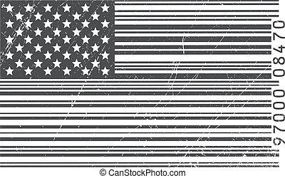 américain, barcode, drapeau