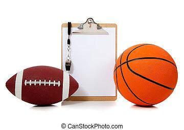 américain, basket-ball, oard, football