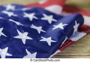 américain, bois, drapeau, fond