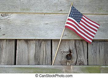 américain, bois, drapeau, grange