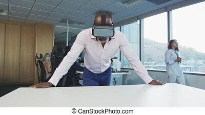 américain, bureau, africaine, homme affaires, moderne, vr, ...