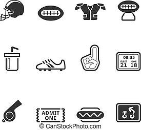américain, bw, -, football, icônes