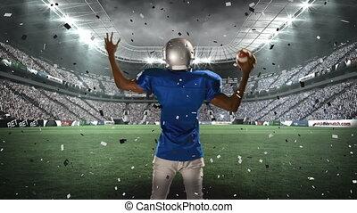 américain, célébration, joueur football