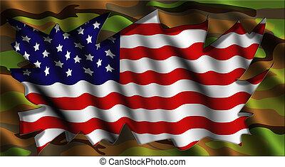 américain, camo, drapeau