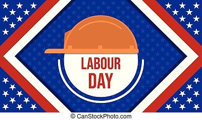 américain, casque, ouvrier, ou, usa, travail, jour, bannière