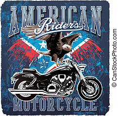 américain, cavalier moto