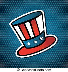 américain, chapeau, élections, usa