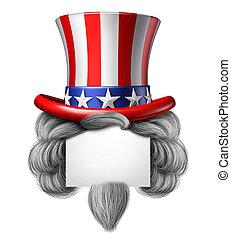 américain, chapeau, signe