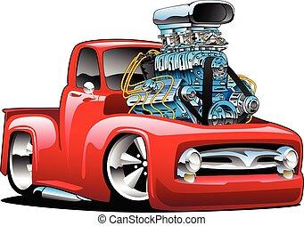 américain, chaud, isolé, camion, classique, dessin animé, tige, vecteur, pick-up, illustration