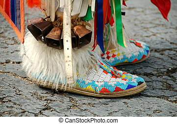 américain, chaussure, indigène