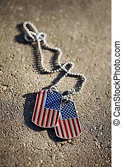 américain, chien, drapeau, fond, étiquettes