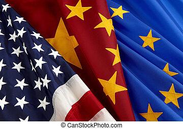 américain, chinois, et, union européenne, drapeaux