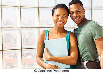 américain, collège, couple, africaine