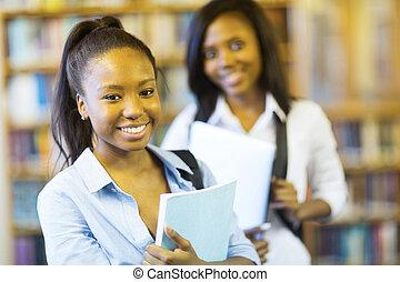 américain, collège, girl, africaine