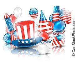 américain, coloré, gabarit, fetes