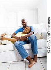 américain, couple heureux, africaine