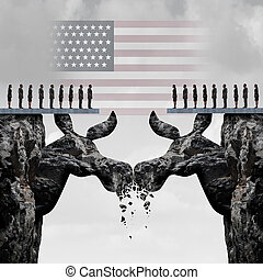 américain, démocratique, élection, baston