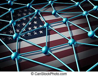 américain, données, réseau
