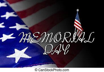 américain, drapeau commémoratif, fond, jour