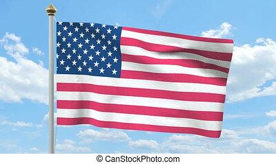 américain, drapeau ondulant