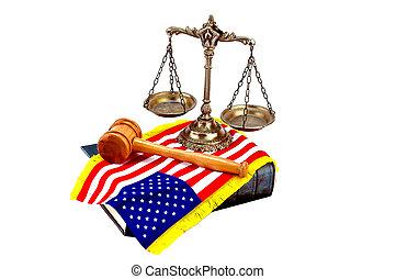 américain, droit & loi, et, justice